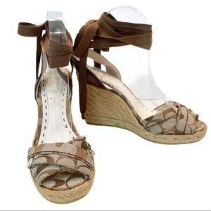 Coach Wedge Espadrilles Ankle Wrap Logo Sandals 9
